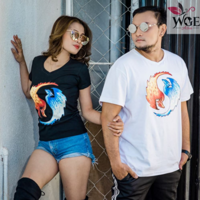 Yin & Yang Fire And Ice Dragons Shirt - Couple