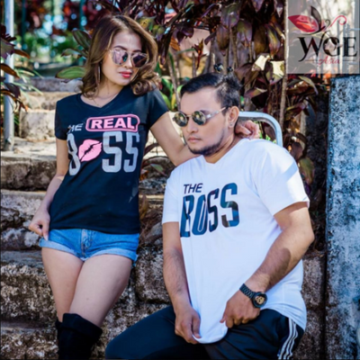 The Boss And The Real Boss Ii Couple Shirt (Necktie & Lips)