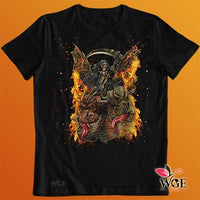 Grim Reaper on 2 Headed Bone Dragon Shirt