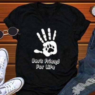 Best Friend for Life Dog Lover's Shirt - BLACK clothing clothes pet dog  paws statement shirt