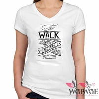 Bible Phrase Shirt - 2 Cor 5:7 - Women Small / White clothe clothing verse