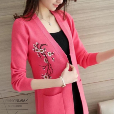 Embroidered Korean Cardigan Pink Embroidery Sweater cardigan embroidered Korean pullover Sweater Jacket
