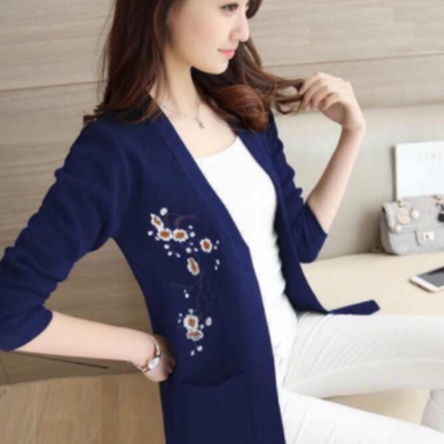 Embroidered Korean Cardigan Blue Embroidery Sweater cardigan embroidered Korean pullover Sweater Jacket