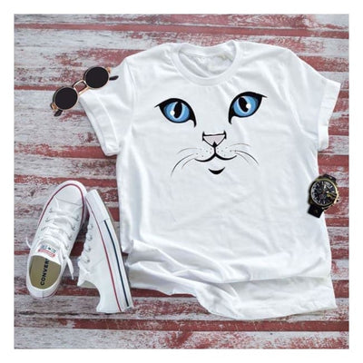 Adorable Blue Eyed Cat Shirt - UNISEX lovely cat face eyes blue