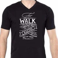 Bible Phrase Shirt - 2 Cor 5:7 - Mens Small / Black clothe clothing verse