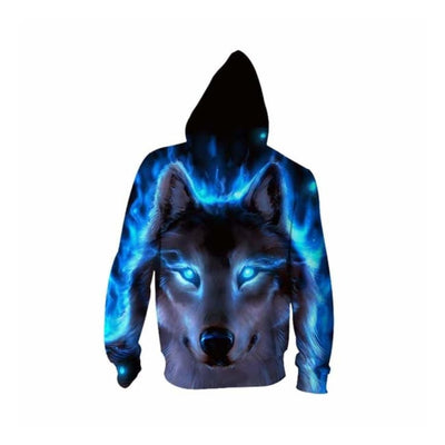 Varr the Blue Fire Wolf - Hoodie (UNISEX) Sweatshirt wolf Jacket Hooded