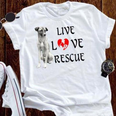 Live, Love Rescue Animal Welfare Shirt - UNISEX dog pet cloth clothing cotton statement shirt tee print design WGEAsia Men Women