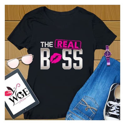Couples shirts Couple Shirt Lips Boss Real Boss couple t-shirts