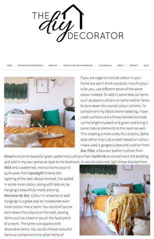 The DIY Decorator Zoe perth Siesta Home duvets styling interiors