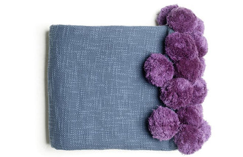 wild lavendar pom pom throw