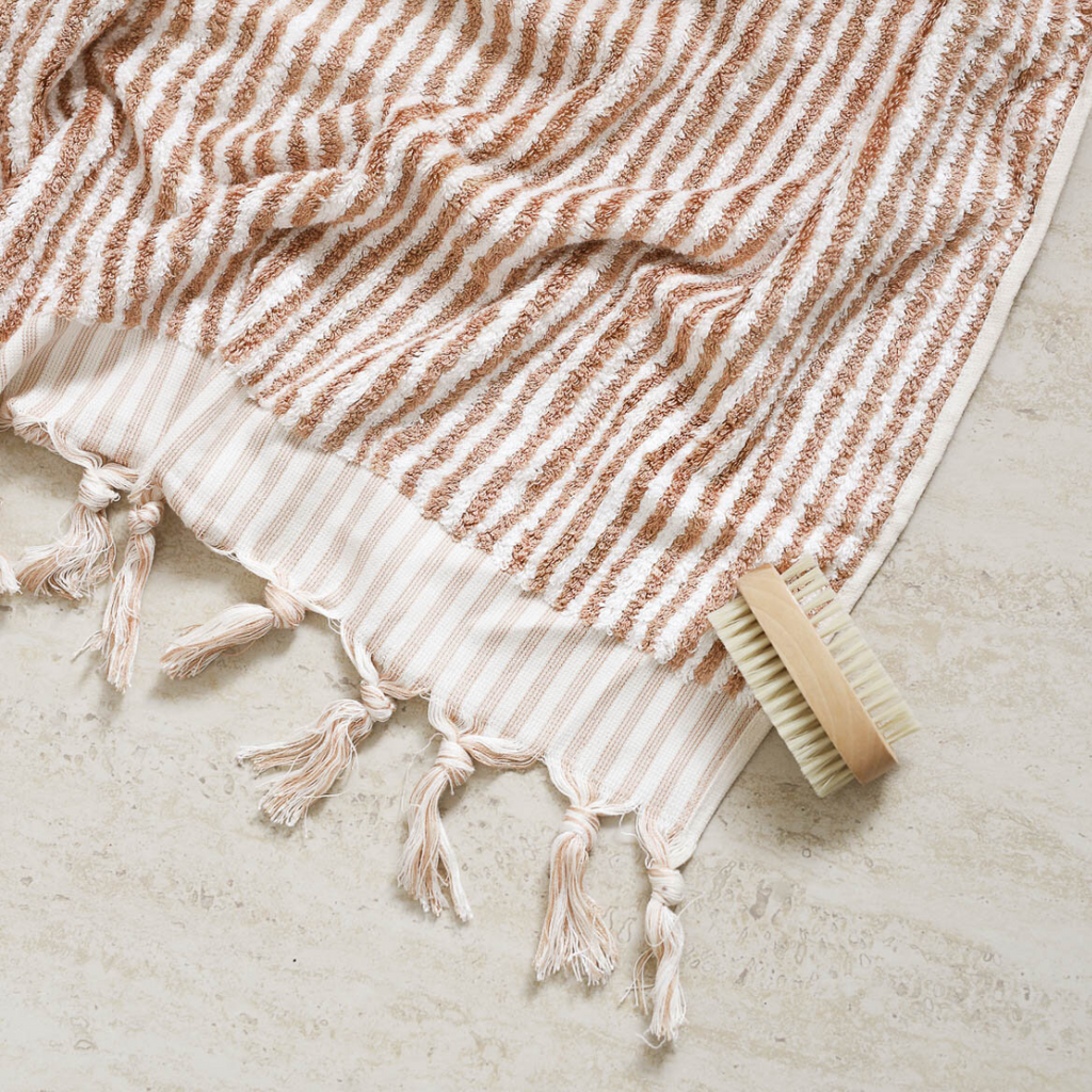 STRIPED TURKISH TOWEL - COFFEE