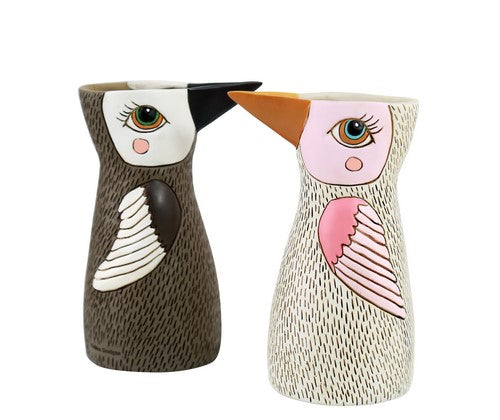BIRD WATER CAN / VASE - BROWN