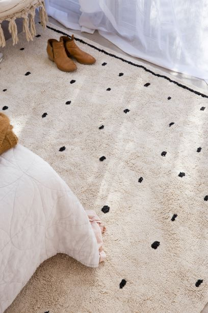 Cotton Berber Rugs - Going Dotty Black