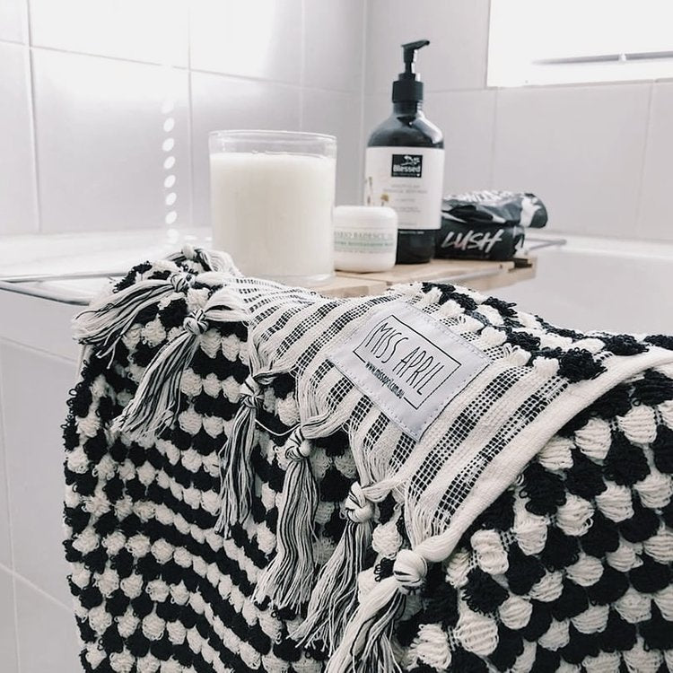 Pom Pom Turkish Towel - Black and White