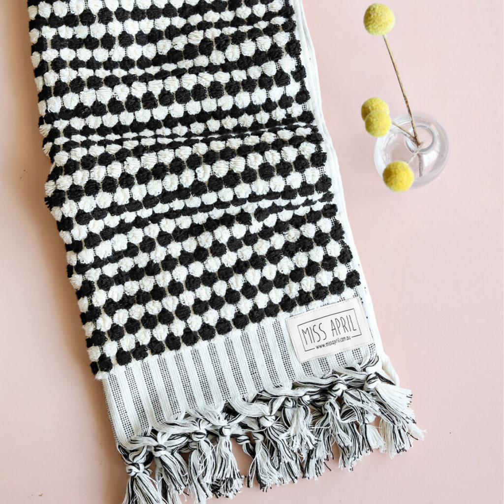 Pom Pom Hand Towel - Black and White