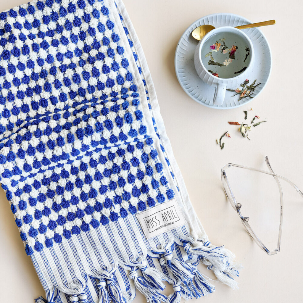 Pom Pom Hand Towel - Navy and White