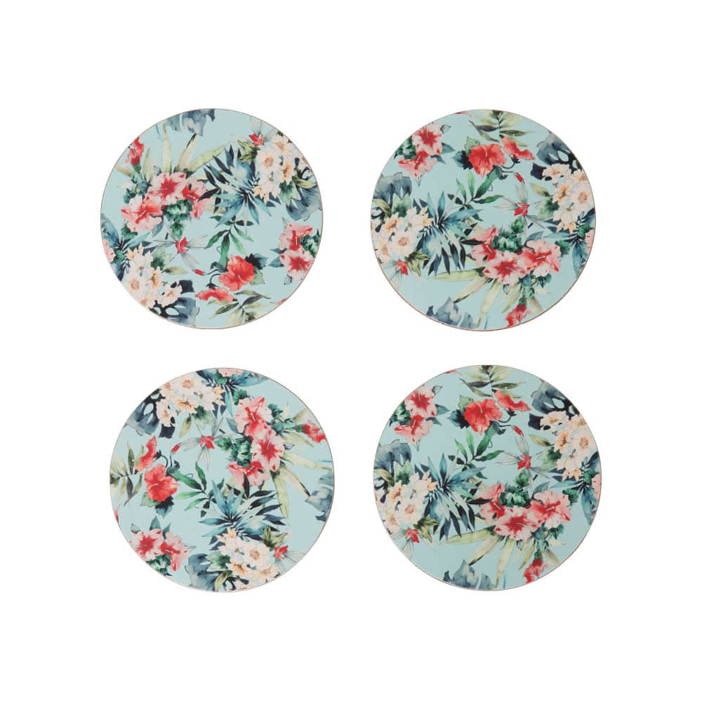 Bamboo Plate Set – Hibiscus Garden – Set of Four