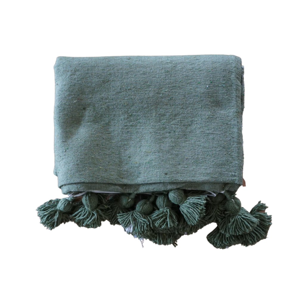 Green Pom Pom Throw