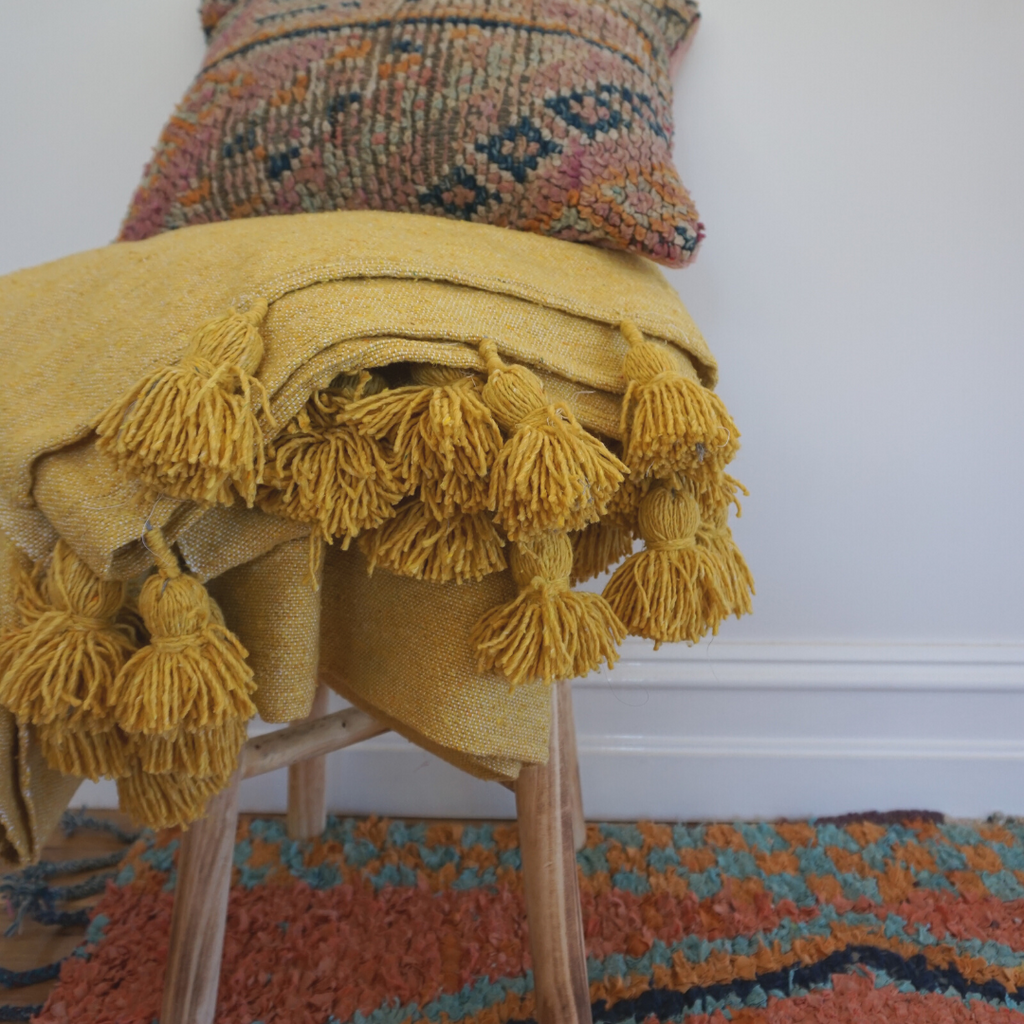 Mustard Pom Pom Throw