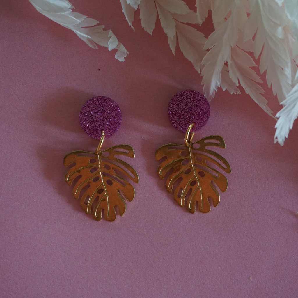 Monstera Earrings -Pink