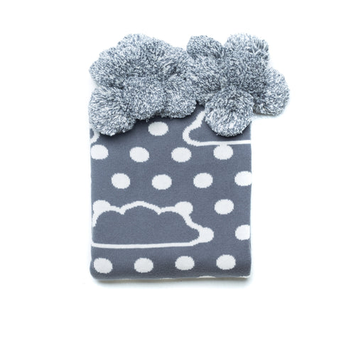 BOHEMIAN DREAMS POM POM BABY REVERSIBLE BLANKET - CHARCOAL