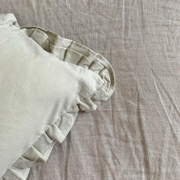 RUFFLES LINEN IN SILVER BIRCH KING PILLOWCASE - SET OF 2