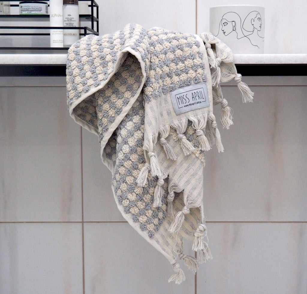 Pom Pom Hand Towel - Grey and White