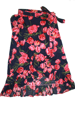 Mummy's Wrapped Around Skirt - Florals on Dark Blue