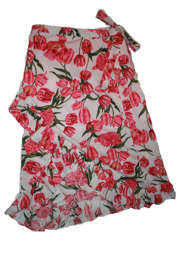 Mummy's Wrapped Around Skirt - Florals on White