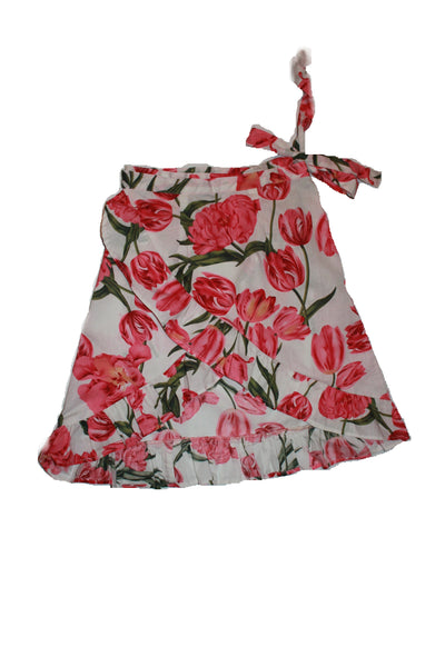 Mini Me's Wrapped Around Skirt - Florals on White