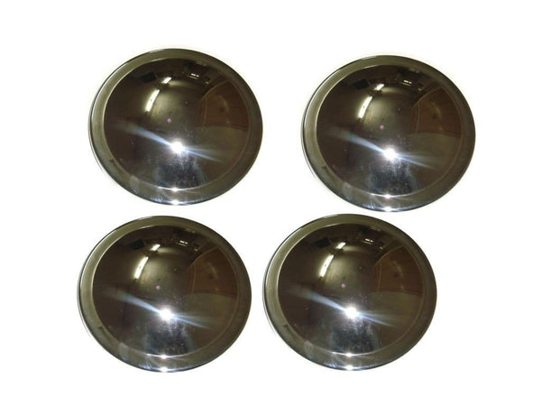 SET OF 4 CHROMED CAR WHEEL HUBS/ COVERS 220mm DIA FITS CLASSIC VINTAGE CARS AVAILABLE AT CLASSIC SPARE PARTS