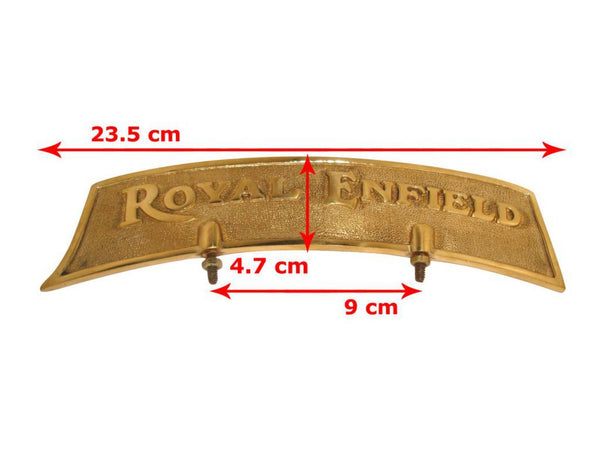 ROYAL ENFIELD CUSTOMIZED BRASS FRONT MUDGUARD NUMBER PLATE WITH LOGO AVAILABLE AT AT CLASSIC SPARE PARTS