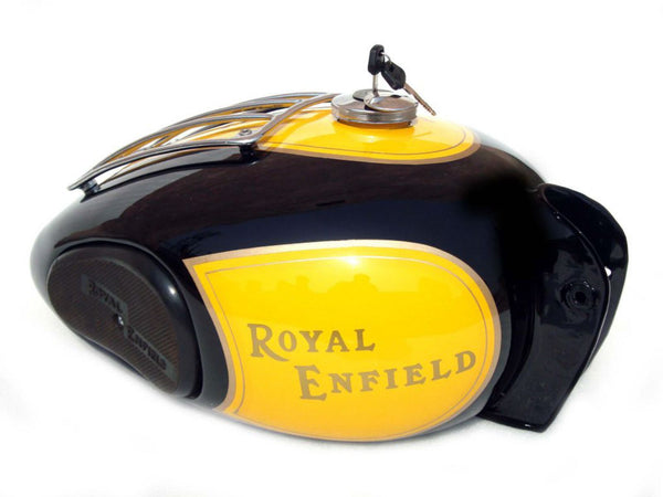 ROYAL ENFIELD VINTAGE LARGE TRAIL PETROL TANK PAINTED BLACK AND YELLOW DHL SHIP AVAILABLE ONLINE AT CLASSIC SPARE PARTS