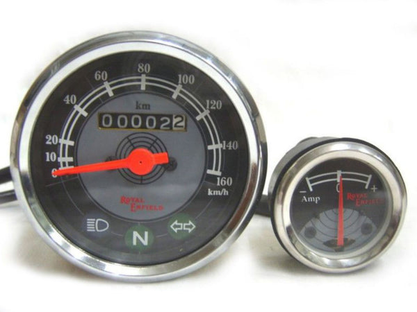 BLACK & GREY FACE AMMETER SPEEDO 0-160 + 8 AMP. - DEAL FOR ROYAL ENFIELD OWNERS AVAILABLE AT at Classic Spare Parts