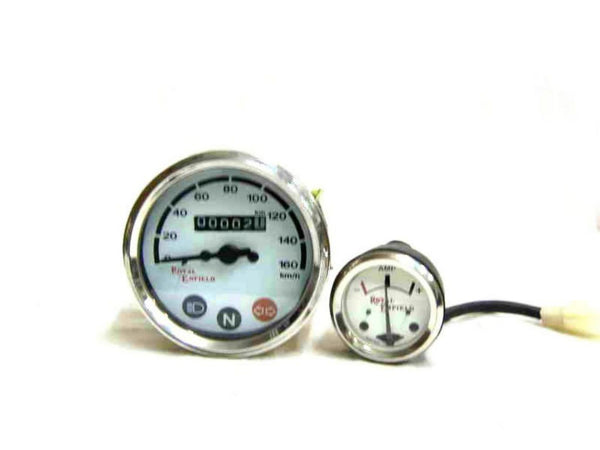 ROYAL ENFIELD SUPER DEAL WHITE FACE SPEEDO 0-160 KMPH & AMMETER AVAILABLE AT at Classic Spare Parts
