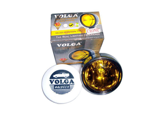 BEST QUALITY BRAND NEW UNIVERSAL 12V MINI VESPA CHROME HALOGEN FOG LAMP YELLOW AVAILABLE AT at Classic Spare Parts