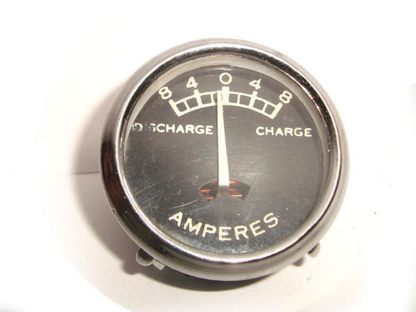 RARE VINTAGE UNIVERSAL 8 VOLT AMMETER BLACK FACED BRAND NEW AVAILABLE AT at Classic Spare Parts
