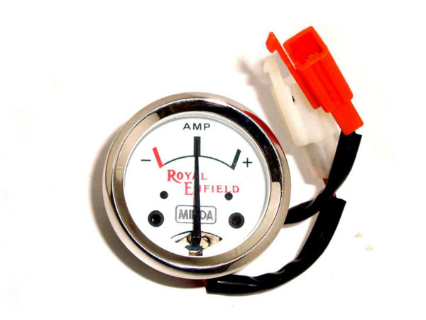 BRAND NEW ROYAL ENFIELD WHITE FACE 8 HI QUALITY AMPERE AMMETER -MINDA AVAILABLE AT at Classic Spare Parts