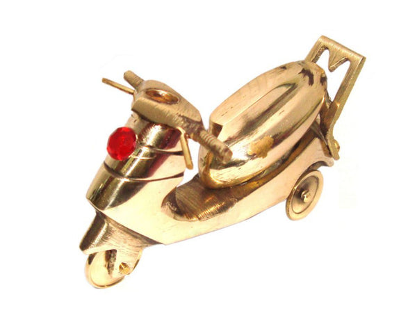 NEW RARE BRASS SCOOTER SCULPTURE HANDMADE GOLDEN METAL FIGURINE HOME DECOR ART AVAILABLE AT at Classic Spare Parts