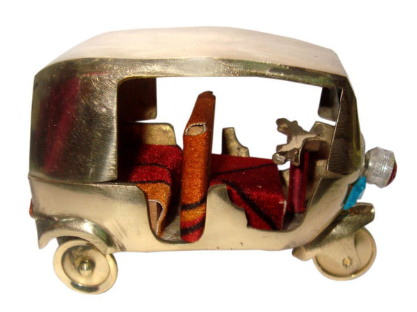 "INDIAN VINTAGE BRASS AUTO TUK TUK MODEL TOY 3""H X 4""L 276 GM COLLECTIBLE DECOR AVAILABLE AT at Classic Spare Parts"