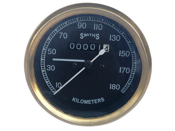 10-180 KMPH BLACK FACE SPEEDOMETER BRASS BEZEL SMITHS FITS VINTAGE BIKES AVAILABLE AT at Classic Spare Parts
