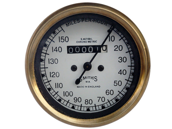 UNIVERSAL 10-150 MPH WHITE FACE SPEEDOMETER SMITH CHROME METRIC AVAILABLE AT at Classic Spare Parts