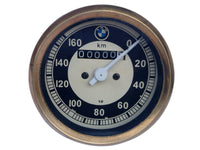 0-160 KMPH BLACK & CREAM FACE SPEEDOMETER BRASS BEZEL FITS BMW / VINTAGE BIKES AVAILABLE AT at Classic Spare Parts