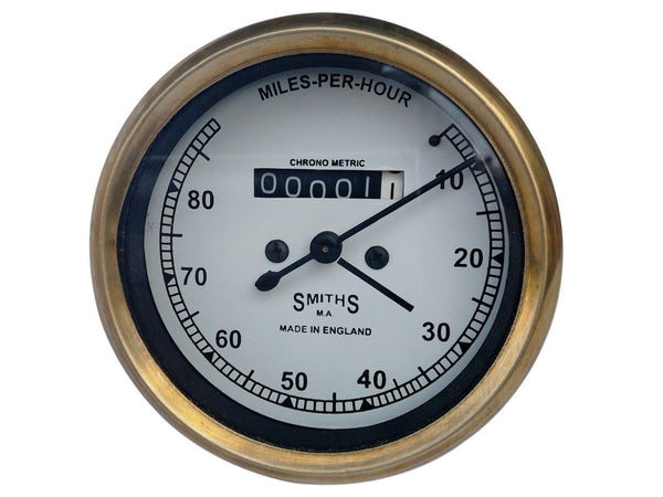 0-80/10-80 MPH SMITHS WHITE FACE SPEEDOMETER BRASS BEZEL FITS VINTAGE BIKES AVAILABLE AT at Classic Spare Parts