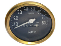 0-80/10-80 MPH SMITHS BLACK FACE SPEEDOMETER BRASS BEZEL FITS VINTAGE BIKES AVAILABLE AT at Classic Spare Parts