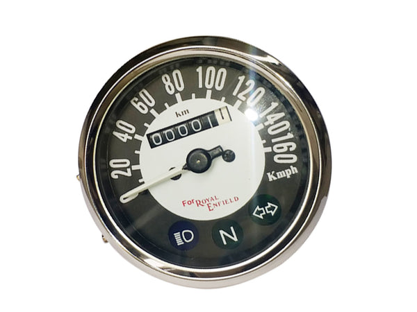 Royal Enfield 0-160 Kmph Chrome Speedometer Black & White Face - Vintage Royal Enfield available at Online at classicspareparts