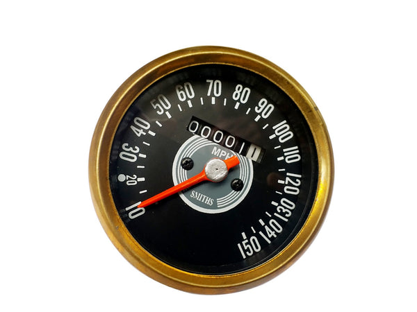 Smiths 10-150 MPH Brass Speedometer Black Face - Vintage Motorcycles available at Online at classicspareparts