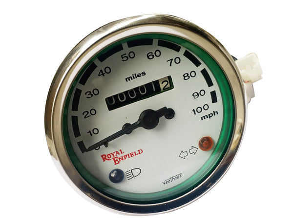 Royal Enfield 0-100 MPH Chrome Speedometer White Face - Vintage Royal Enfield available at Online at classicspareparts