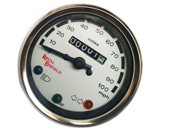 Speedometer White Face Royal Enfield 0-100 MPH Chrome  - Vintage Royal Enfield available at Online at classicspareparts