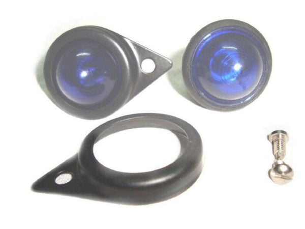PAIR OF 12 VOLT BLUE PILOT LIGHT ASSEMBLY -BULB AND BLACK RIMS FITS ROYALENFIELD AVAILABLE AT CLASSIC SPARE PARTS